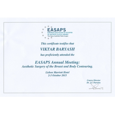 EASAPS Annual Meeting: Aesthetic Surgery of the Breast and Body Contouring. Lisbon Marriott Hotel, 2-3 October 2015